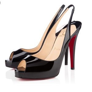 Christian Louboutin Black Leather Slingback Heel